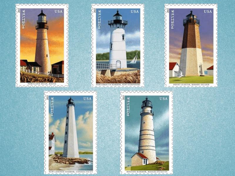 5 Lighthouse stamps on blue background