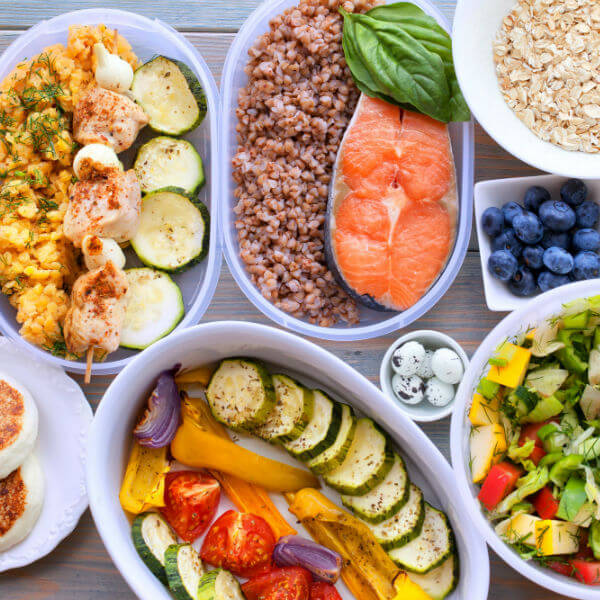 Seafood, salad, fresh fruit, chicken